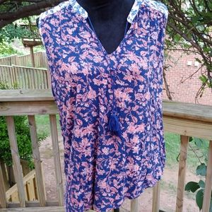Lucky Brand Flowered Sleeveless Blouse